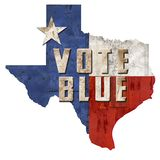 Vote Texas Democrat Vote Blue TX. State democratic party registration art logo GOTV vector illustration