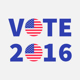 Vote 2016 text Blue badge button icon with American flag Star and strip President election day. Voting concept. Isolated. White background Card Flat design stock illustration