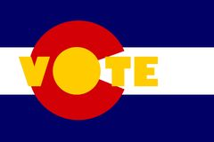 Vote text on colorado state flag backdrop Royalty Free Stock Images
