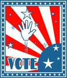 Vote text on retro backdrop from usa flag elements Royalty Free Stock Photography
