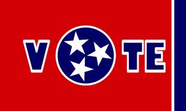 Vote text on Tennessee state flag backdrop Stock Photo
