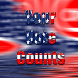 Vote text on USA flag. vector illustration