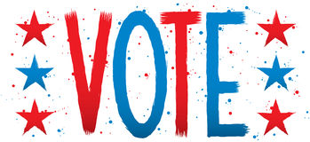 VOTE Text. Text of the word VOTE with stars royalty free illustration