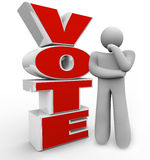 Vote Thinking Person Stands Beside Word Considering Options. A thinking person stands beside the word Vote wondering which candidate, proposal or option he Royalty Free Stock Photos
