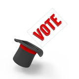 Vote. Three-dimensional illusionist's top hat on white background with pop-up caption 'Vote Royalty Free Stock Images