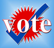 Vote Tick Shows All Right And Ok. Vote Tick Meaning All Right And Elect Stock Photos