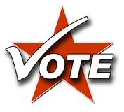 Vote, tick and star Royalty Free Stock Photos