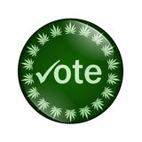 Vote to legalize marijuana button. A green button marijuana leafs and word vote isolated on a white background, Vote to legalize marijuana button Royalty Free Stock Photo