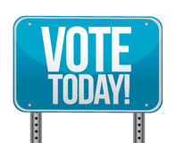 Vote today blue sign. Illustration design over white Stock Photography