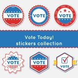 Vote Today!. Stickers collection. Buttons set for USA presidential elections 2016. Collection of blue and red patriotic badges. Round tokens vector Stock Illustration