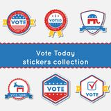 Vote Today stickers set. Buttons collection for USA presidential elections 2016. Pack of blue and red patriotic badges. Round lables vector illustration Stock Photos