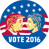 Vote 2016 Trump Vs Clinton. Illustration showing Republican Donald Trump versus Democrat Hillary Clinto face-off for American president with words Vote 2016 with vector illustration