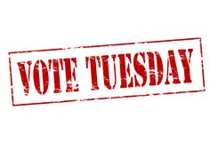 Vote Tuesday. Rubber stamp with text vote Tuesday inside,  illustration Stock Images