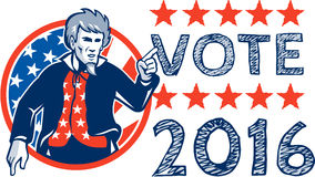 Vote 2016 Uncle Sam Pointing Circle Retro Stock Photo