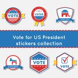 Vote for US President stickers set. Buttons collection for USA presidential elections 2016. Pack of blue and red patriotic badges. Round lables vector Stock Illustration