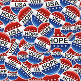 Vote USA badge pins pattern. Vote, Hope and USA election badge pins pattern. Vector file layered for easy manipulation and custom coloring Royalty Free Stock Photography