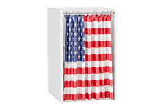 Vote in USA concept, voting booth with American flag, 3D renderi Stock Photos