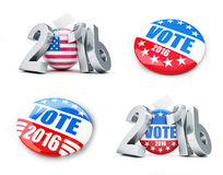 Vote usa election badge button for 2016. Background. 3d Illustrations on a white background royalty free illustration