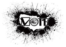 Vote 2016 USA Map Ink Splatter Outline Illustration. Vote 2016 Presidential Election USA Map Outline Grunge Ink Paint Splatter Abstract Black Isolated on White Royalty Free Stock Images
