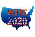 Vote 2020 USA political campaign. USA map vote election 2020 political campaign Stock Photography