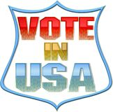 Vote in USA sign. Illustration of vote in U.S.A. sign or badge isolated on white background Stock Illustration