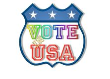 Vote in USA sign. Illustration of vote in U.S,A sign or badge isolated on white background Royalty Free Stock Image