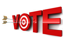 Vote. Word in red with arrow hitting bulls eye, white background stock illustration