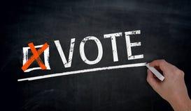 Vote is written by hand on blackboard