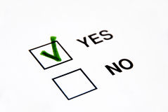 Vote yes. A green tick on yes box vote royalty free stock images