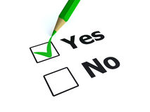 Vote yes. 3d render of a pen checking yes Royalty Free Stock Photo
