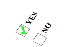 Vote for yes. Check sign in yes box royalty free stock photo