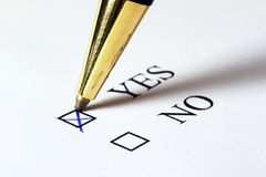 Vote YES Stock Photography