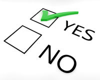 Vote Yes. Two boxes with yes and no options with a green tick in the yes box Stock Image