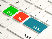 Vote yes no. Voting buttons yes no with vote replacing the enter key on a white computer keyboard. voting and polling concept Stock Photography