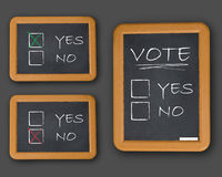 Vote yes or not. Three blackboards with text vote yes or not on grey background vector illustration