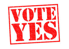 VOTE YES. Red Rubber Stamp over a white background royalty free illustration
