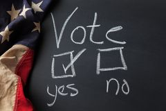 Vote Yes Sign Written on a Chalkboard royalty free stock photo