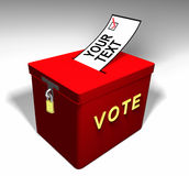 Vote Your-Text A. Red Ballot Box encouraging one to vote for a topic you insert on the ballot Royalty Free Stock Photos
