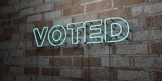 VOTED - Glowing Neon Sign on stonework wall - 3D rendered royalty free stock illustration Royalty Free Stock Photo