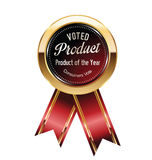 Voted product label. Voted product red and gold  label Royalty Free Stock Photo
