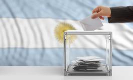 Voter on an Argentina flag background. 3d illustration Stock Image