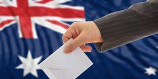 Voter on Australia flag background. 3d illustration. Voter on waiving Australia flag background. 3d illustration Stock Image