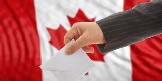 Voter on Canada flag background. 3d illustration. Voter on waiving Canada flag background. 3d illustration Royalty Free Stock Image