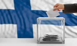 Voter on a Finland flag background. 3d illustration. Voter on an waiving Finland flag background. 3d illustration Stock Images