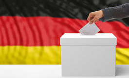 Voter on a Germany flag background. 3d illustration. Voter on an waiving Germany flag background. 3d illustration Royalty Free Stock Photography