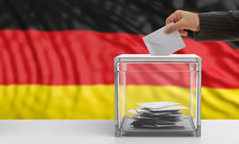 Voter on a Germany flag background. 3d illustration. Voter on an waiving Germany flag background. 3d illustration Stock Photography