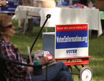 Voter Information sign at Tea Party Rally Stock Photo