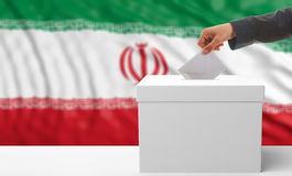 Voter on an Iran flag background. 3d illustration Royalty Free Stock Photo
