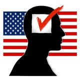 Voter Mentality USA. An illustration featuring a black silhouette head with checkbox and red check set against usa flag royalty free illustration