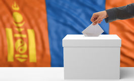 Voter on a Mongolia flag background. 3d illustration Royalty Free Stock Images